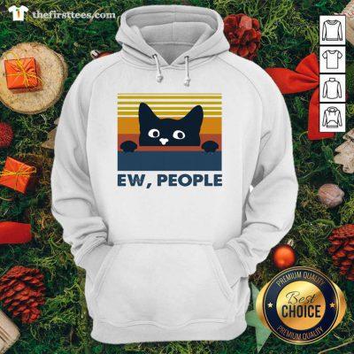 Black Cat Ew People Vintage Retro Hoodie - Design by Thefirsttees.com