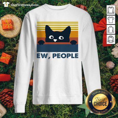 Black Cat Ew People Vintage Retro Sweatshirt - Design by Thefirsttees.com