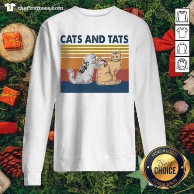 Cats And Tats Tattoo Vintage Retro Sweatshirt - Design by Thefirsttees.com