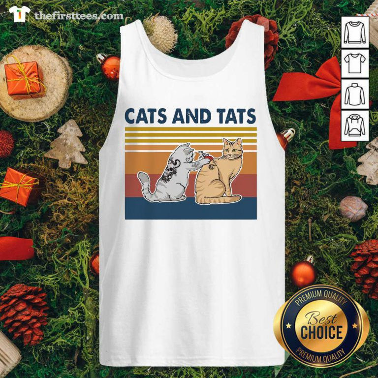 Cats And Tats Tattoo Vintage Retro Tank Top - Design by Thefirsttees.com
