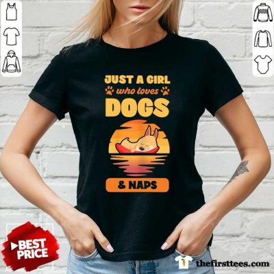 Just A Girl Who Loves Dogs And Naps V-neck - Design by Thefirsttees.com