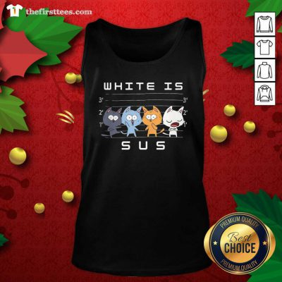 White Is Sus The Cat Tank Top - Design by Thefirsttees.com