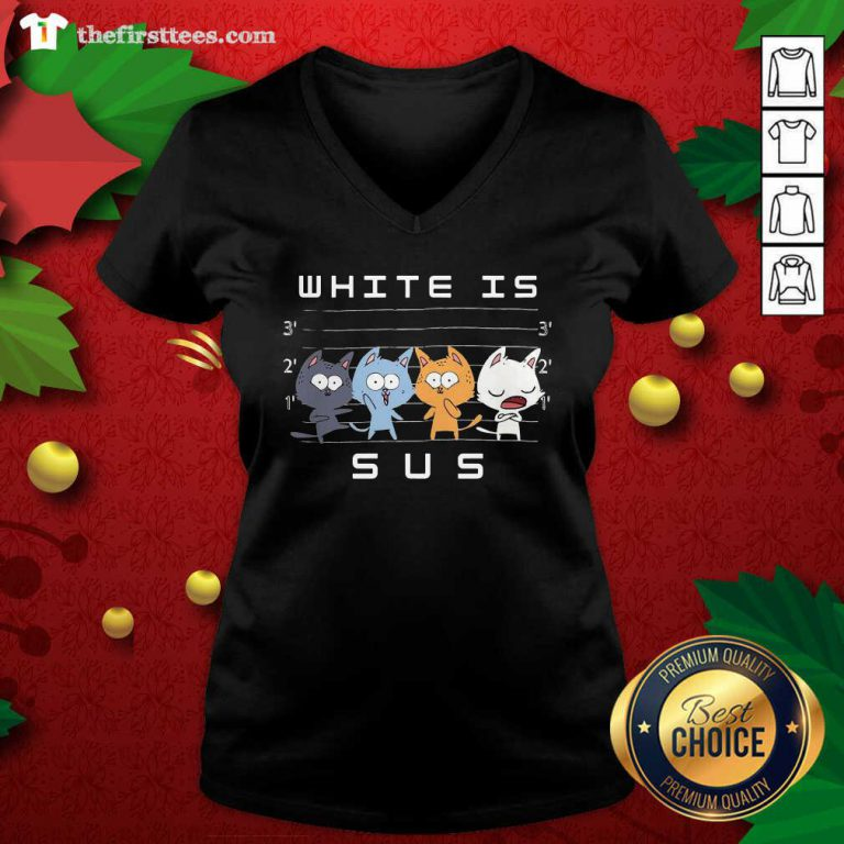 White Is Sus The Cat V-neck - Design by Thefirsttees.com