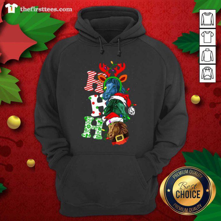 Ho Ho Ho Horses Santa Elf Reindeer Merry Christmas Light Hoodie - Design by Thefirsttees.com