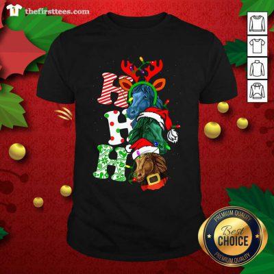 Ho Ho Ho Horses Santa Elf Reindeer Merry Christmas Light Shirt - Design by Thefirsttees.com