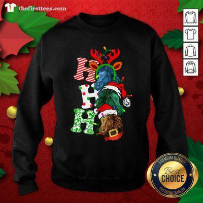Ho Ho Ho Horses Santa Elf Reindeer Merry Christmas Light Sweatshirt - Design by Thefirsttees.com