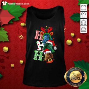 Ho Ho Ho Horses Santa Elf Reindeer Merry Christmas Light Tank Top - Design by Thefirsttees.com