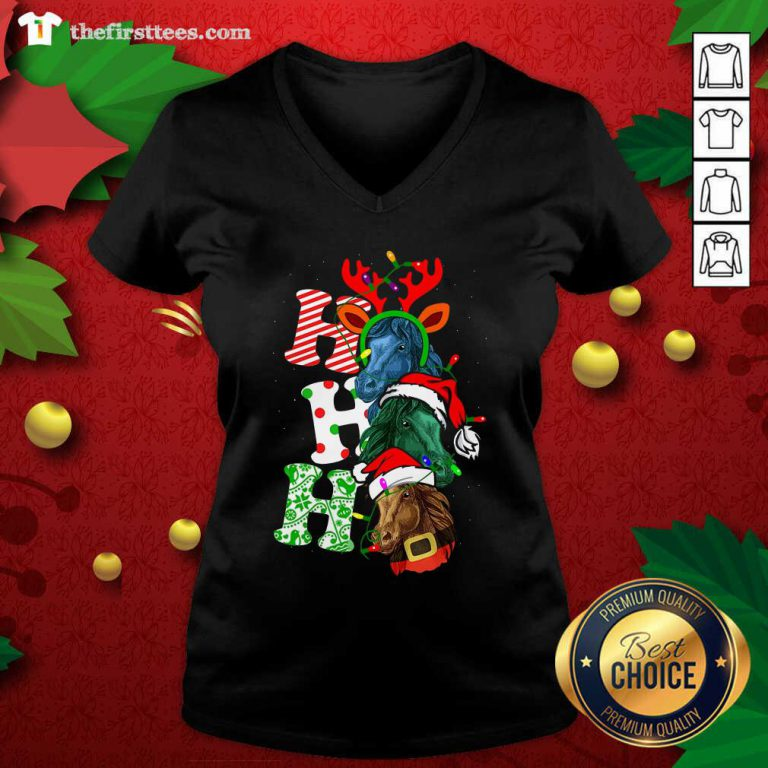 Ho Ho Ho Horses Santa Elf Reindeer Merry Christmas Light V-neck - Design by Thefirsttees.com