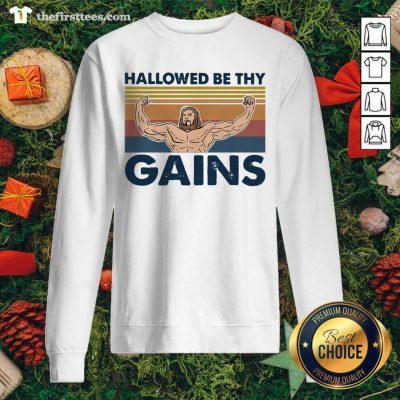 Jesus Gymer Hallowed Be Thy Gains Vintage Retro Sweatshirt - Design by Thefirsttees.com