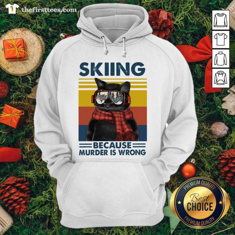 Black Cat Skiing Because Murder Is Wrong Vintage Retro Hoodie - Design by Thefirsttees.com
