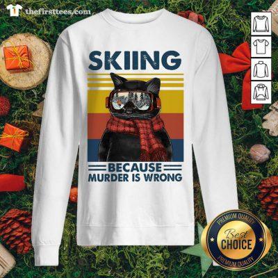 Black Cat Skiing Because Murder Is Wrong Vintage Retro Sweatshirt - Design by Thefirsttees.com