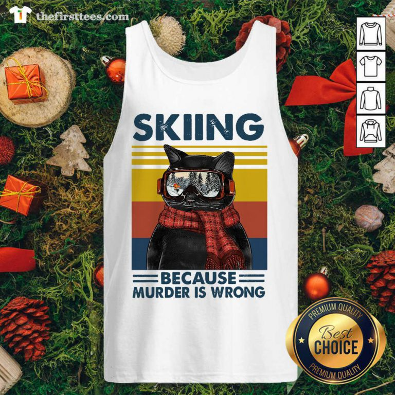 Black Cat Skiing Because Murder Is Wrong Vintage Retro Tank Top - Design by Thefirsttees.com