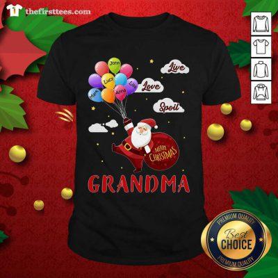 Santa Claus Merry Christmas Grandma Live Love Spoil Shirt - Design by Thefirsttees.com