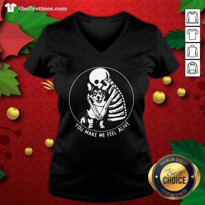 Skeleton Hug Corgi You Make Me Feel Alive V-neck - Design by Thefirsttees.com