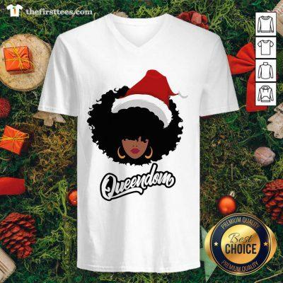 Merry Christmas Queendom Black Girl Magic V-neck - Design by Thefirsttees.com
