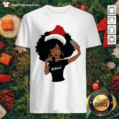 Black Girl Magic Natural Merry Christmas Shirt - Design by Thefirsttees.com