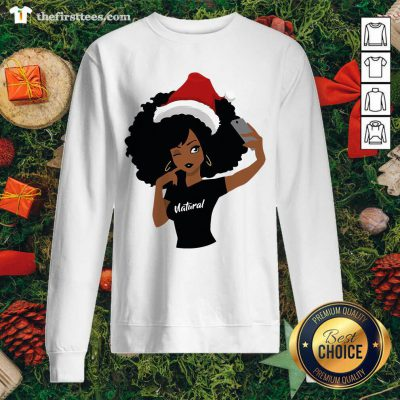 Black Girl Magic Natural Merry Christmas Sweatshirt - Design by Thefirsttees.com