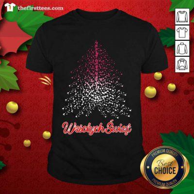 Wesolych Swiat Polish Flag Christmas Tree Shirt - Design by Thefirsttees.com
