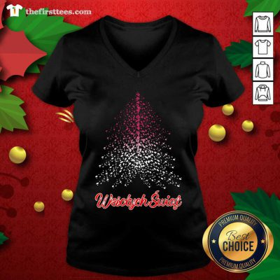 Wesolych Swiat Polish Flag Christmas Tree V-neck - Design by Thefirsttees.com