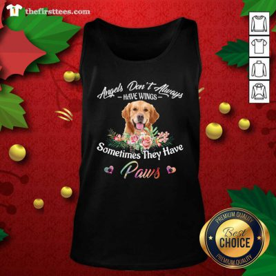 Angels Don't Always Have Wings Golden Retriever Sometimes They Have Paws Tank Top - Design by Thefirsttees.com