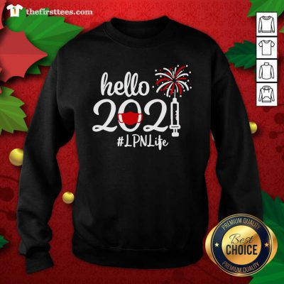 Hello 2021 LPN Life Face Mask Christmas Sweatshirt - Design by Thefirsttees.com