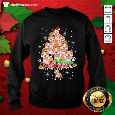 Merry Pitmas Pitbull Christmas Tree Dogs Sweatshirt - Design by Thefirsttees.com