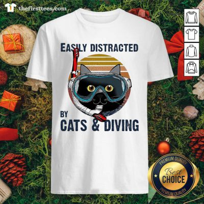 Easily Distracted By Cats And Diving Vintage Shirt - Design by Thefristtees.com