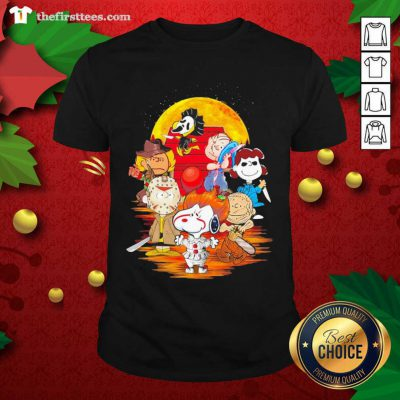 Peanuts Snoopy And Friends Horror Face On The Moon Shirt - Design by Thefristtees.com