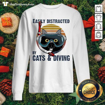 Easily Distracted By Cats And Diving Vintage Sweatshirt - Design by Thefristtees.com