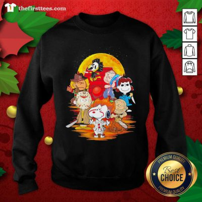 Peanuts Snoopy And Friends Horror Face On The Moon Sweatshirt - Design by Thefristtees.com