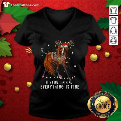 Horse Lover Christmas It's Fine I'm Fine Everything Is Fine Christmas V-neck - Design by Thefristtees.com