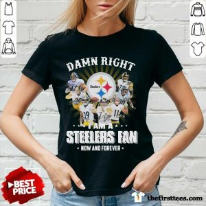 Damn Right I Am A Pittsburgh Steelers Fan Now And Forever Signature V-neck- Design By Thefirsttees.com