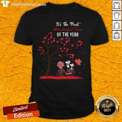 Snoopy And Girlfriend Its The Most Wonderful Time Of The Year Valentines Day V-neck - Design by Thefirsttees.com