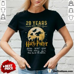 20 Years 2001 2021 Of Harry Potter Signature Thank You For The Memories V-neck- Design By Thefirsttees.com