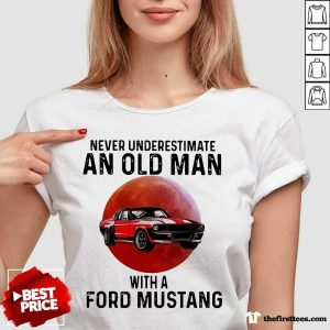 Never Underestimate An Old Man With A Ford Mustang THe Moon V-neck- Design By Thefirsttees.com