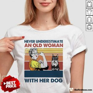 Never Underestimate An Old Woman With Her Dog Miniature Schnauzer Vintage V-neck- Design By Thefirsttees.com