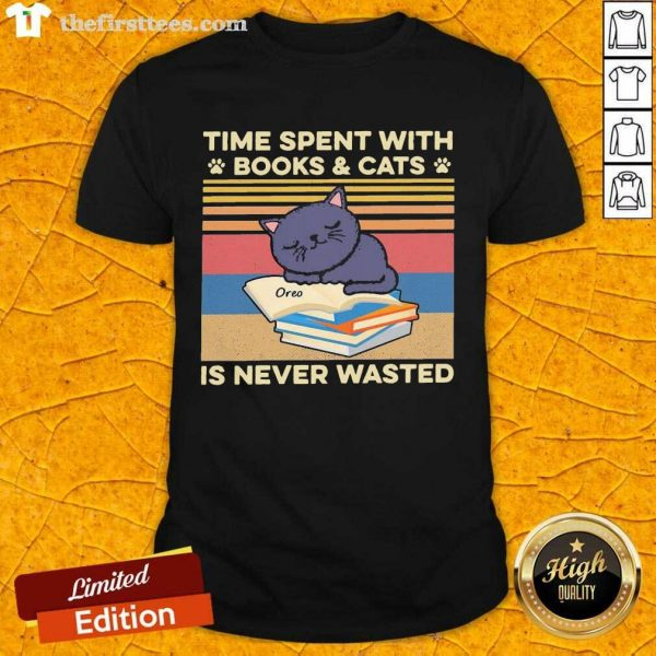 Time Spent With Books And Cats Is Never Wasted Vintage Shirt- Design By Thefirsttees.com