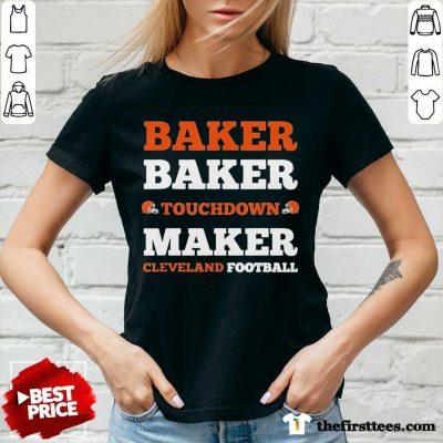 Baker Baker Touchdown Maker Cleveland Football V-neck- Design By Thefirsttees.com