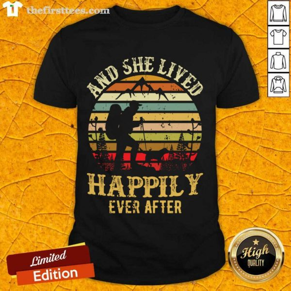 Hiking And She Lived Happily Ever After Vintage Shirt- Design By Thefirsttees.com
