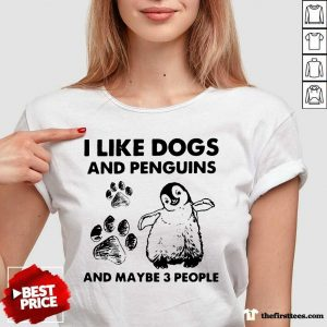 Hot I Like Dogs And Penguins And Maybe 3 People V-neck- Design By Thefirsttees.com
