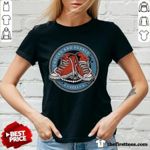 Sneakers Kamala Harris Chucks And Pearls 2021 V-neck- Design By Thefirsttees.com