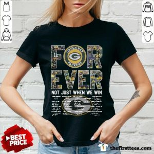 Green Bay Packers Forever Not Just When We Win Signatures V-neck- Design By Thefirsttees.com