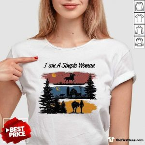 I Am A Simple Woman Horse V-neck- Design By Thefirsttees.com