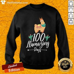 100 Llamazing Days Llama 100th Day of School Teacher Kids Sweatshirt- Design By Thefirsttees.com
