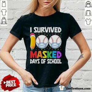 I Survived 100 Masked Days of School Baseball Wearing Mask V-neck- Design By Thefirsttees.com