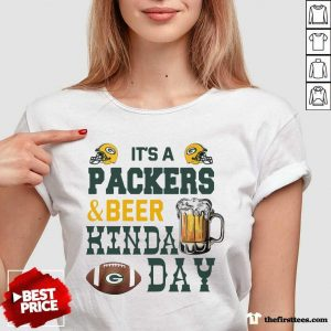 Its A Packers And Beer Kinda Day V-neck- Design By Thefirsttees.com
