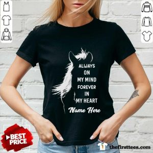 Horse Always On My Mind Forever In My Heart Name Here V-neck- Design By Thefirsttees.com
