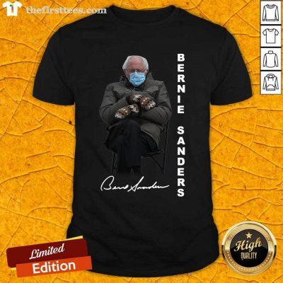 Bernie Sanders Sitting Inauguration Meme Mittens Signature Shirt- Design By Thefirsttees.com