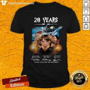 Harry Potter 20 Years 2001 2021 Thank You For The Memories Signatures Shirt- Design By Thefirsttees.com