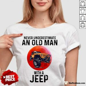 Never Underestimate An Old Man With A Jeep V-neck- Design By Thefirsttees.com